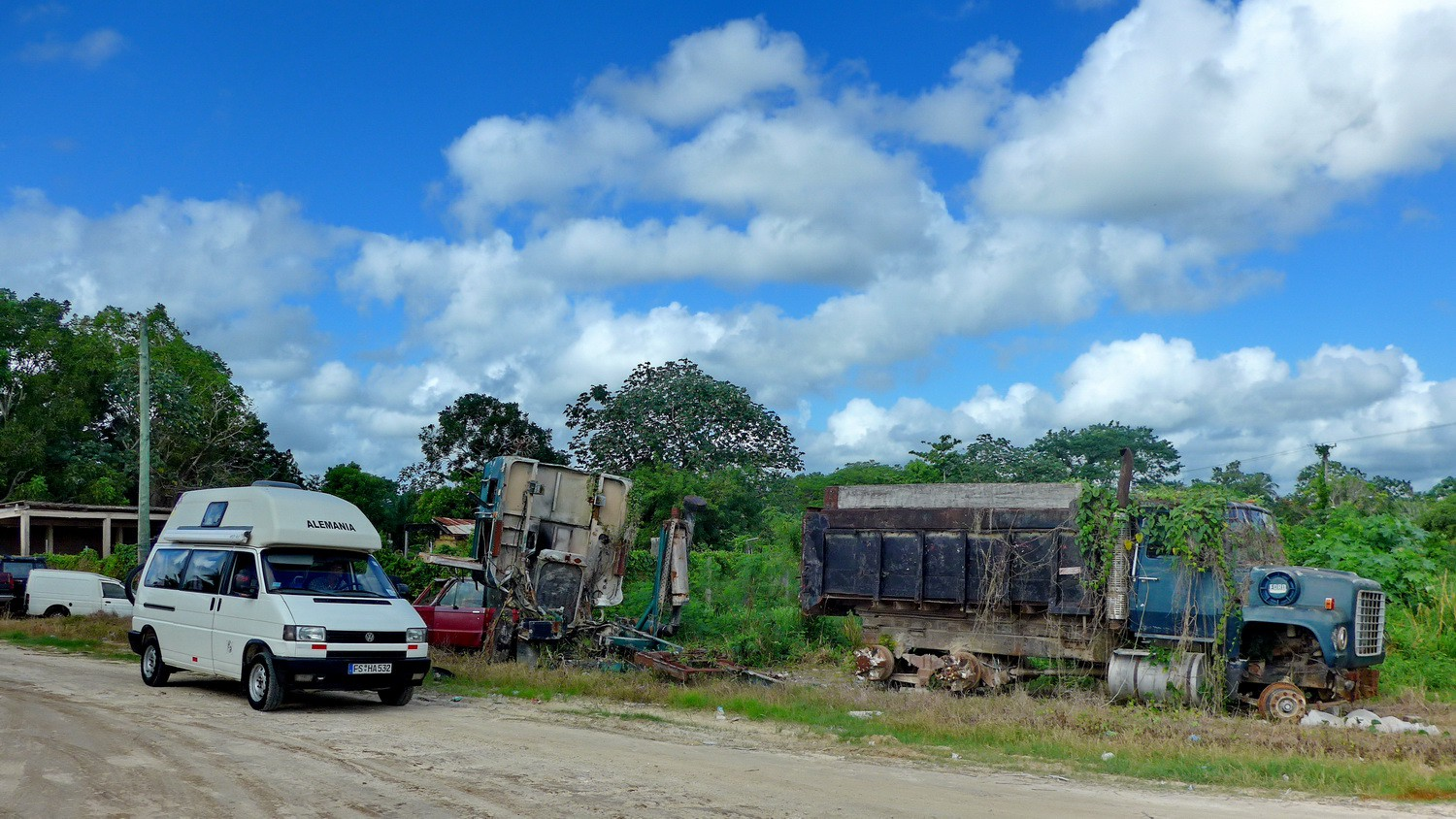 Trucks on the Northern Highway of Belize