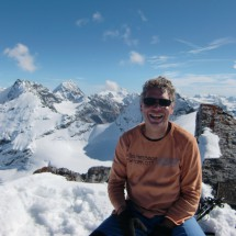 On top of Punta degli Spriti (Geisterspitze) in the Ortler group. Koenigsspitze in the background