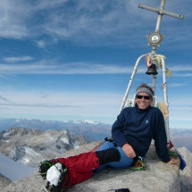 On top on Monte Adamello (3539 meters high), North view to the Ortler group