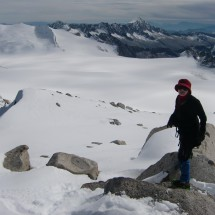 On top of Monte Adamello, South view to the huge glacier Pian di Neve