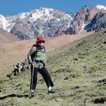 On the way to the Cerro Loma Blanca - Note the red gravel in the valley like a glacier