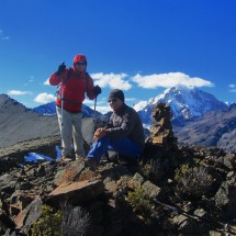 Summit of Cerro Mulamania (4949 meters sea-level) with Cerro Thipala and Huayna Potosi