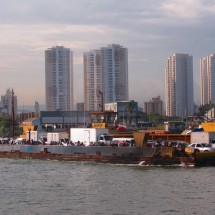 The ferry between Garuja and Santos with the skyline of Santos. Here we crossed our itinerary with Grimaldi lines  nearly two years ago, when we had come to South America with a vessel.