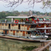 Hotel boats on the pier of Rio Paraguay in Caceres