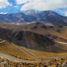 Ruta 40 seen from the icy part with 5950 meters high Nevado de Acay in the background