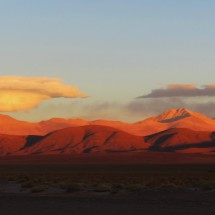 5900 meters high Nevado de Chani at sunset