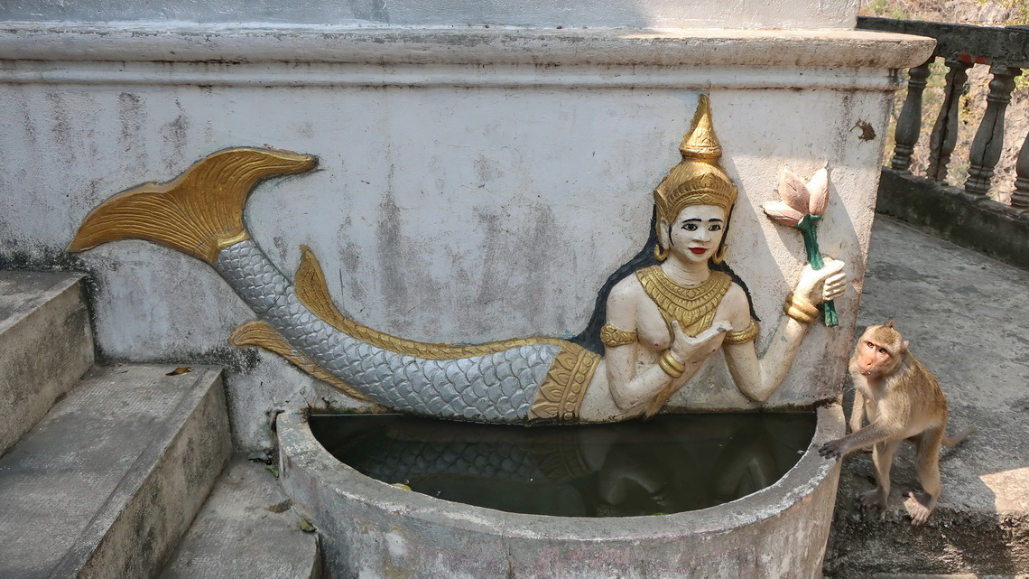 Thorani Fish Goddess with little Monkey on Phnom Sampov