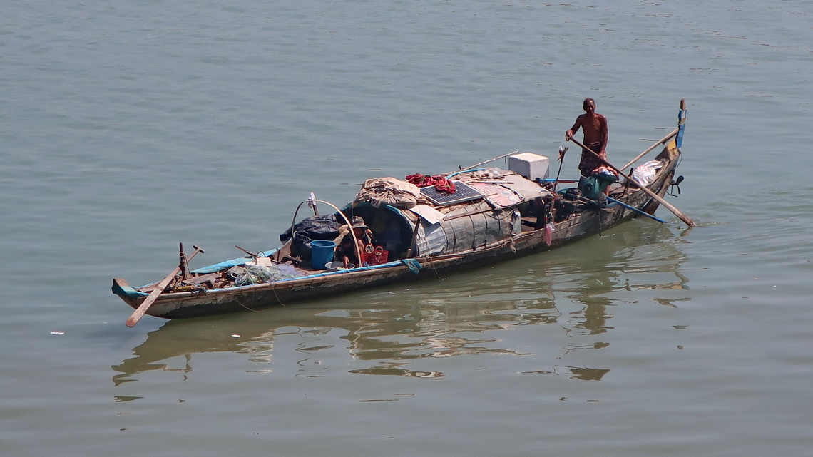 Boat on Tonle Sap River in Phnom Penh