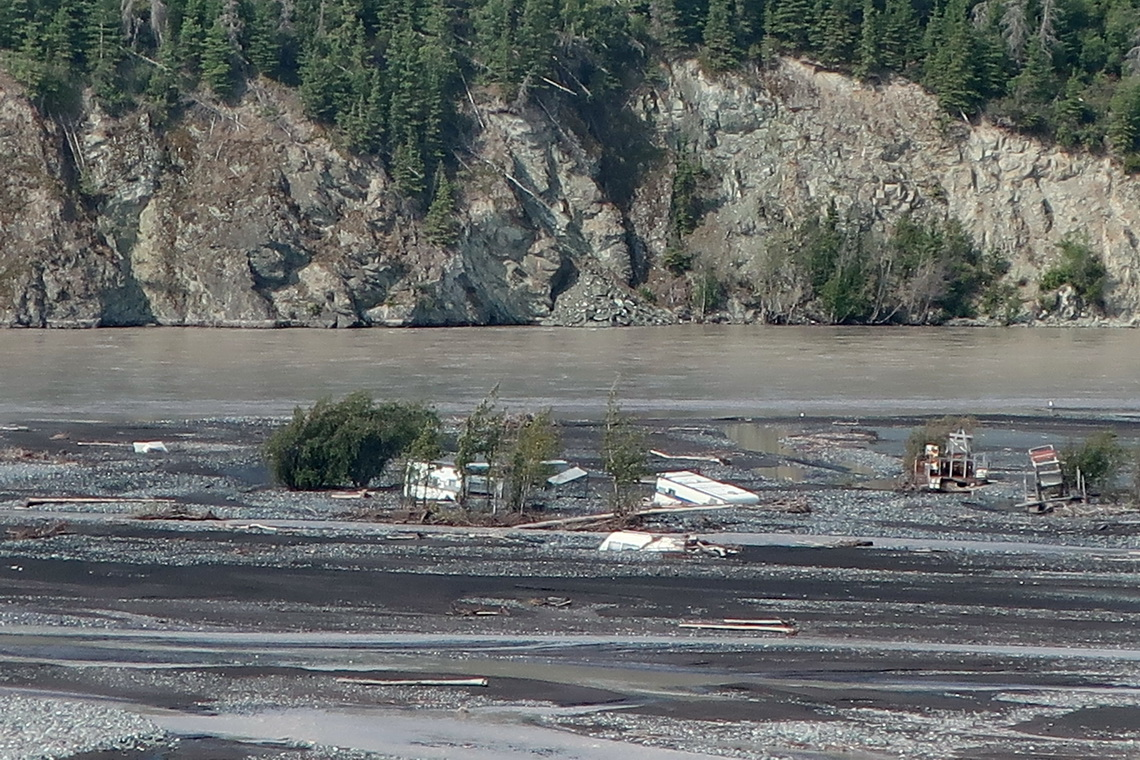 Sunken trailers in Copper River close to Chitina