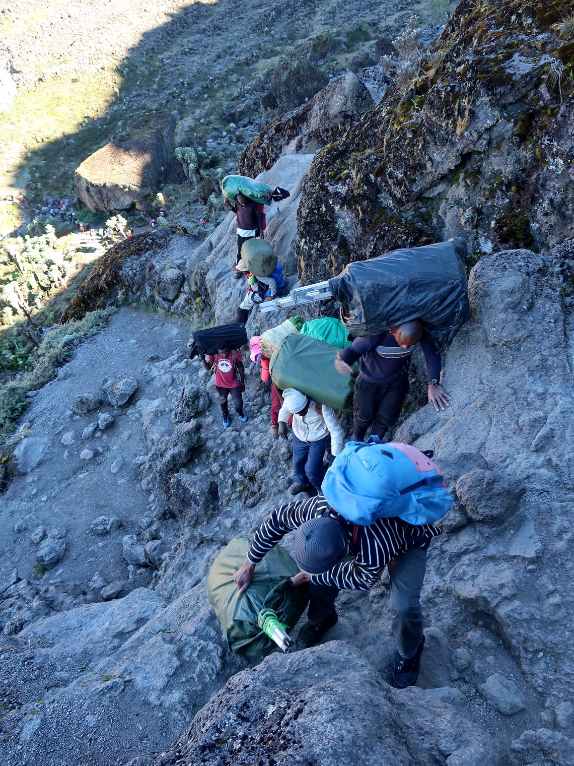 The porters are the real Heroes of Kilimanjaro - Steep section between Baranco and Karanga Camps