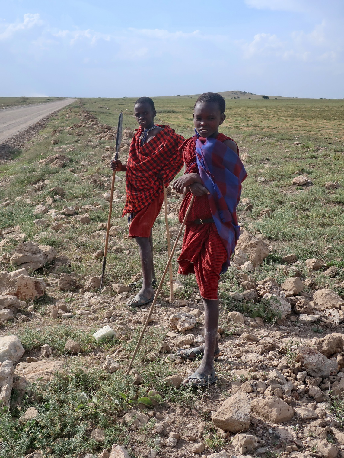 Maasai boys watching us