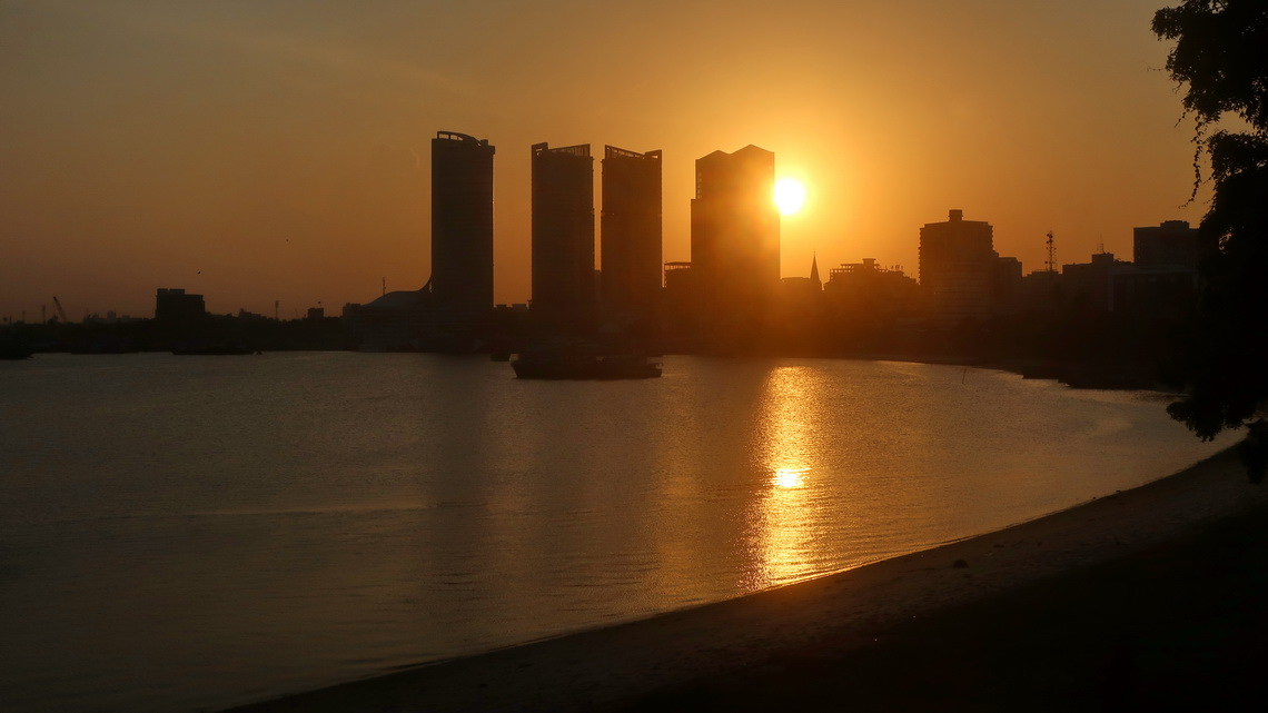 Skyline of Dar es Salaam, a megapolis with more than 4 million inhabitants
