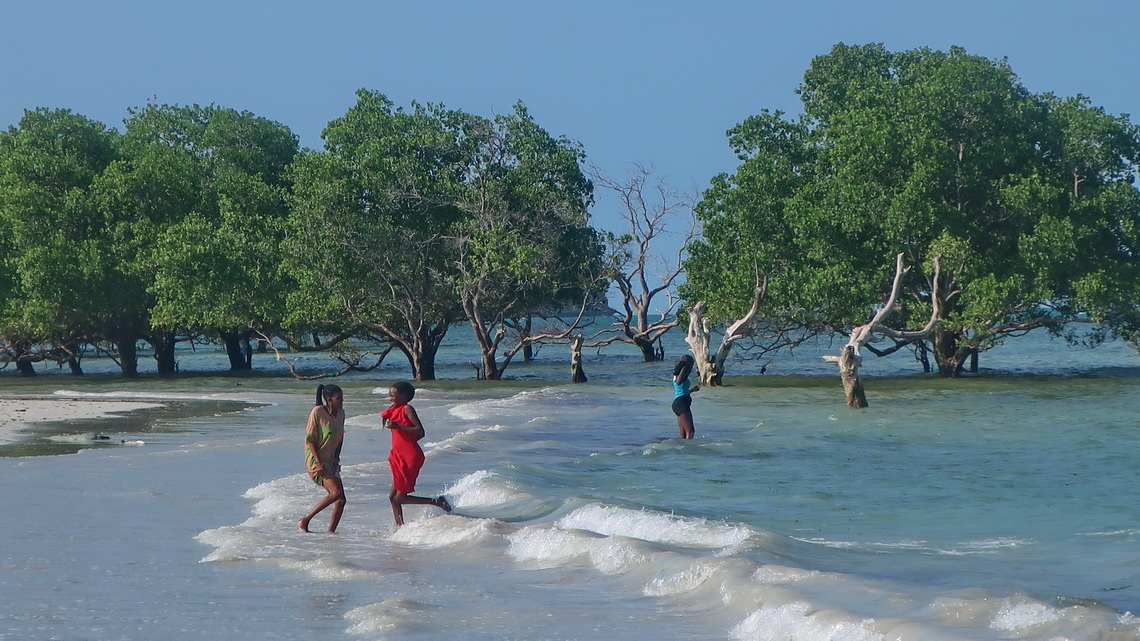 Happy girls on the beach of Mji Mwema (few kilometers south of Dar es Salaam)