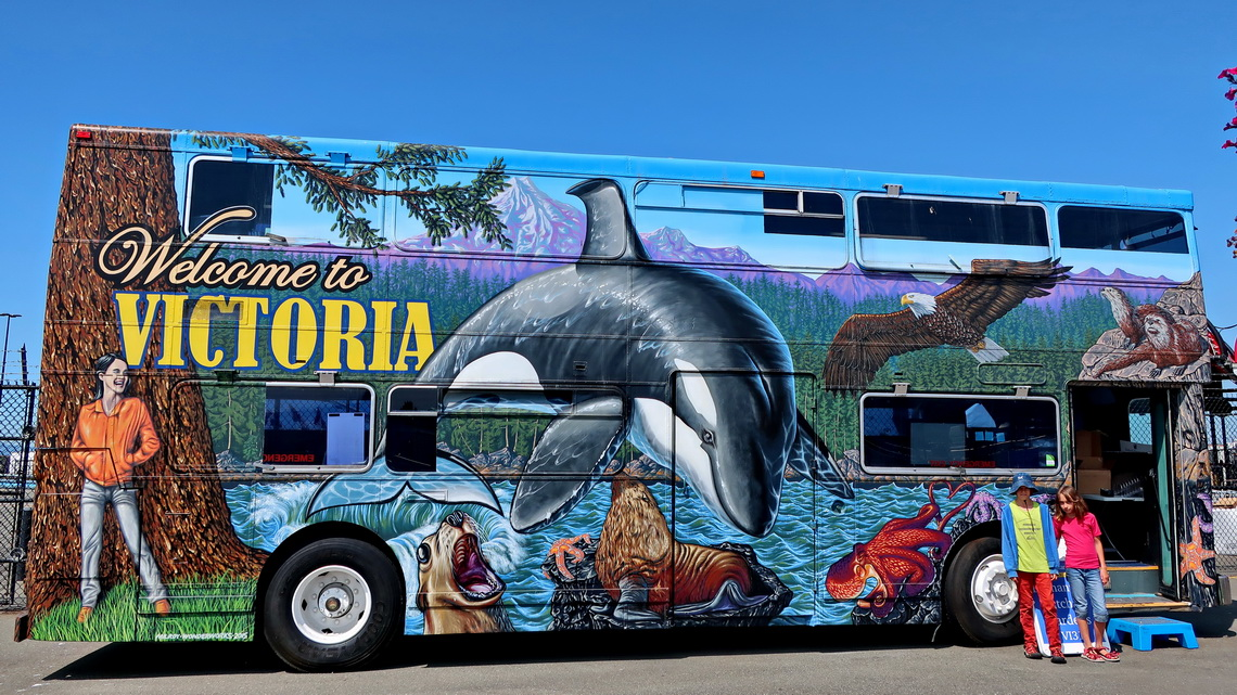 Welcome bus of Victoria on its cruise terminal