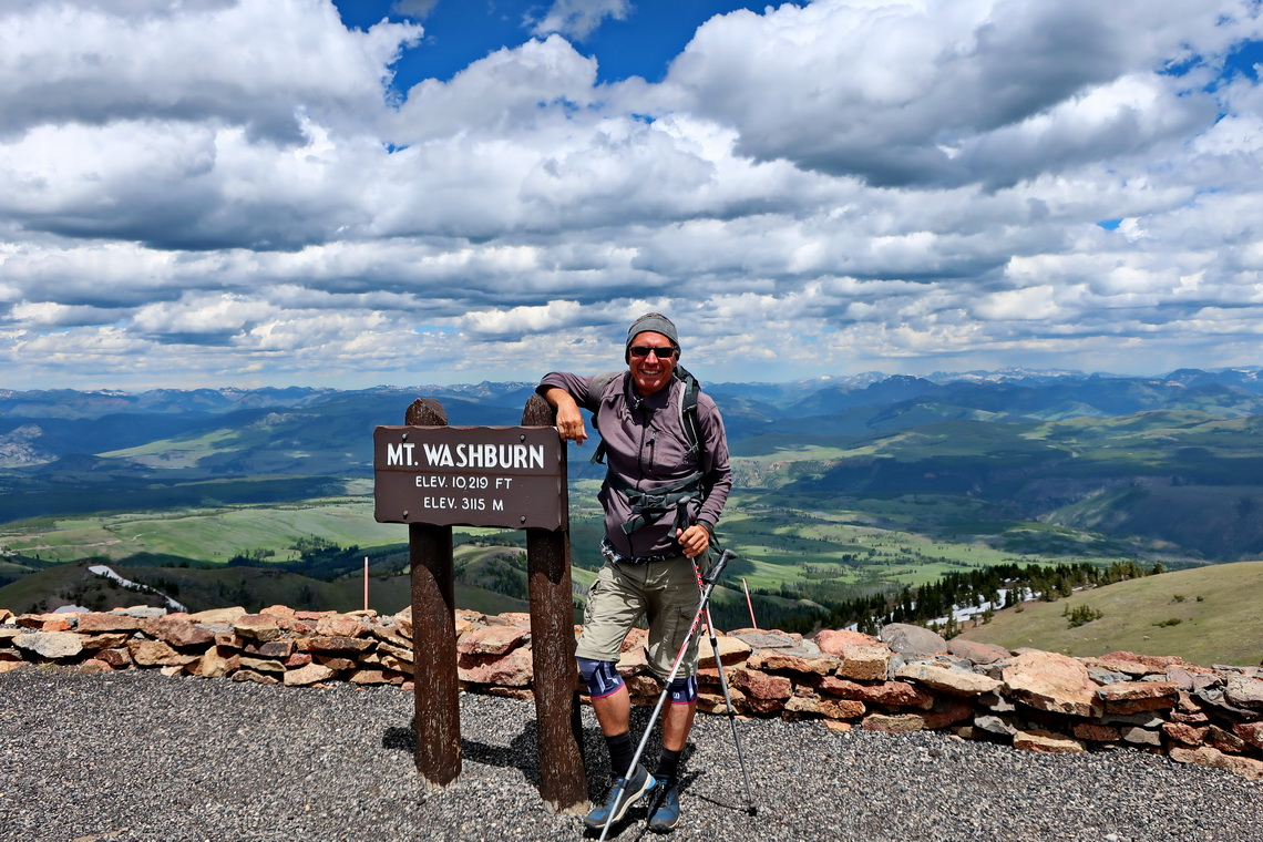 Alfred on the summit of Mount Washburn