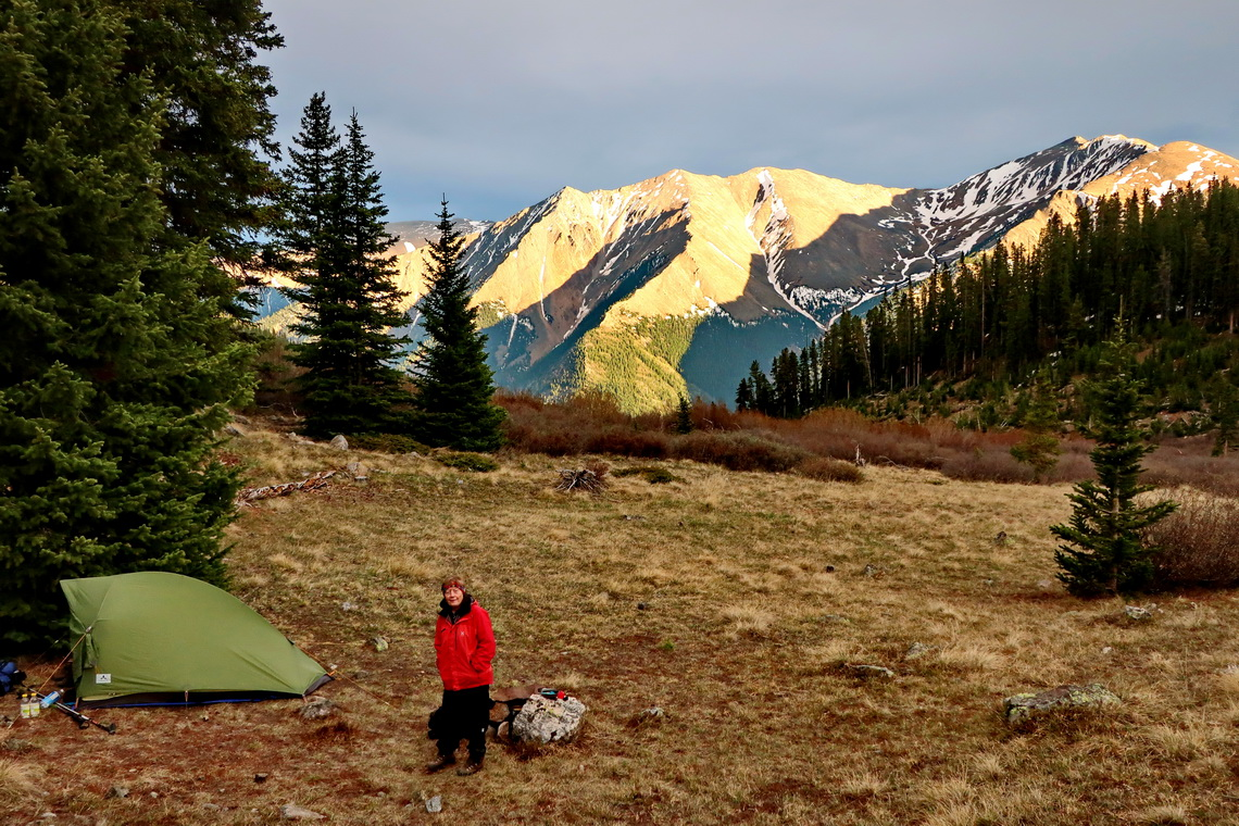 Our camp on Mount Elbert with Rinker and Twin Peaks in the background