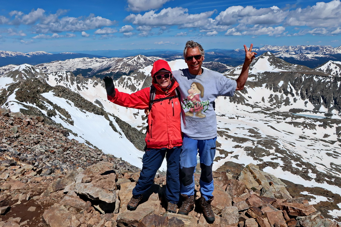 Marion and Alfred on top of Quandary Peak