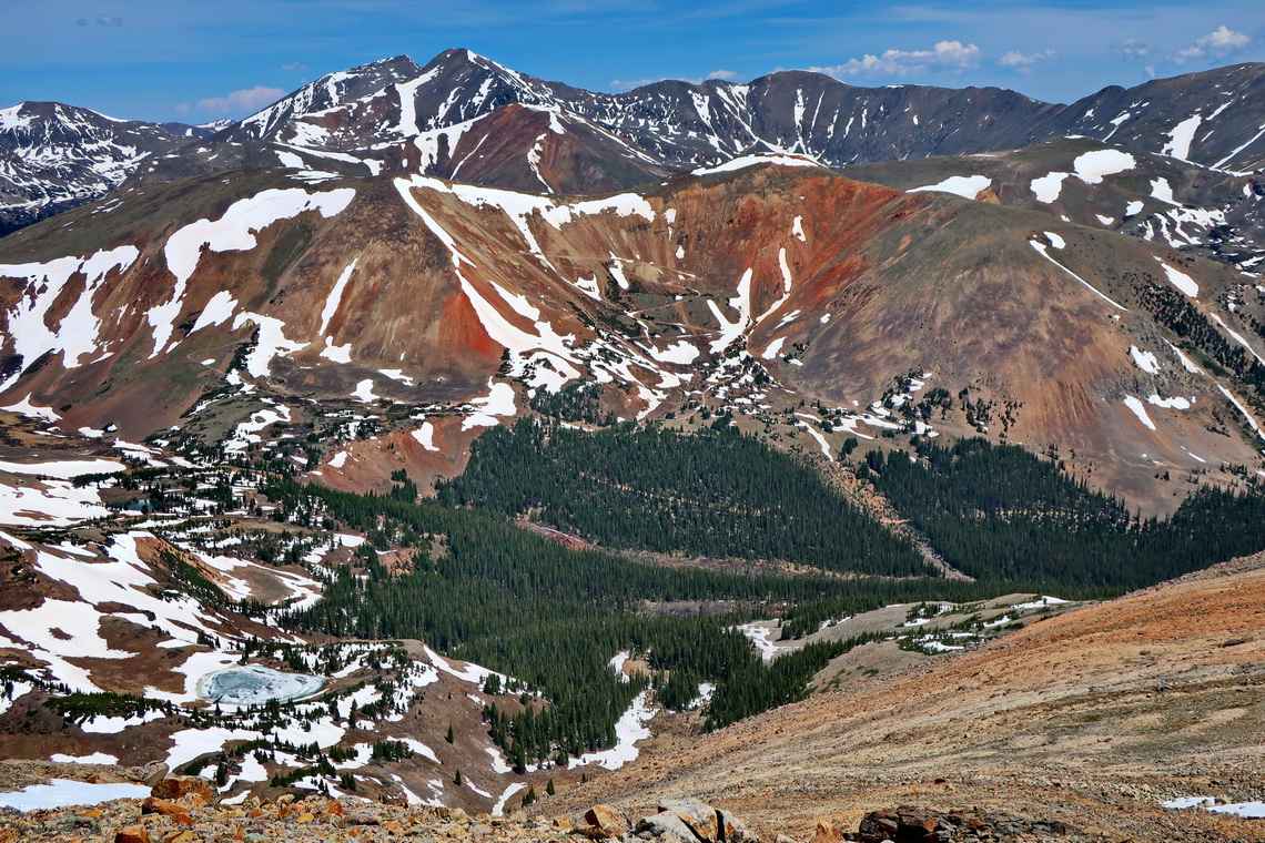 Red slopes with Torreys and Greys Peaks seen from Landslide Peak