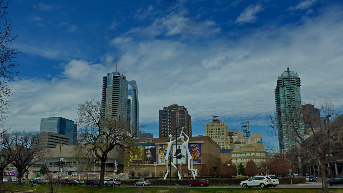 Sculpture Park of Denver with its skyline