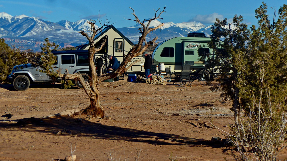 On the campsite Willow Springs Road with snowy Manti La Sal Mountains