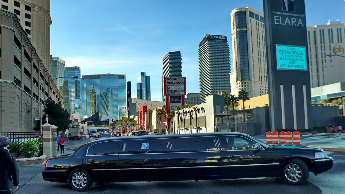 Stretch limousine with hotels close to the strip of Las Vegas