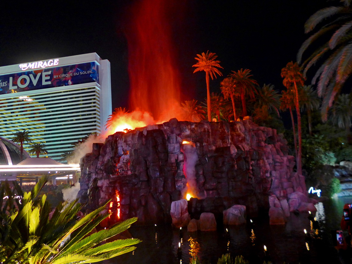 Artificial volcano eruption on the strip