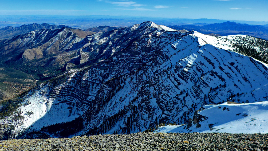 Southeastern ridge of Mount Charleston with Griffith Peak in the center and Kyle Canyon on the left