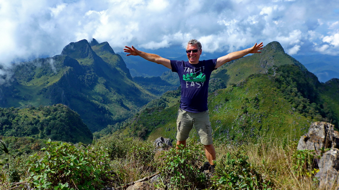 Alfred on the summit of 2192 meters Doi Luang Chiang Dao which is the 3rd highest peak of Thailand