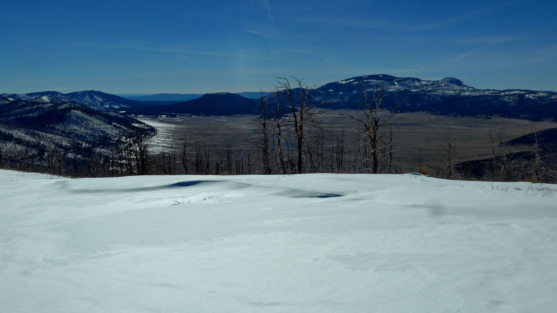 View into the Valles Caldera Supervolcano from the summit of 3096 meters high Cerro Grande