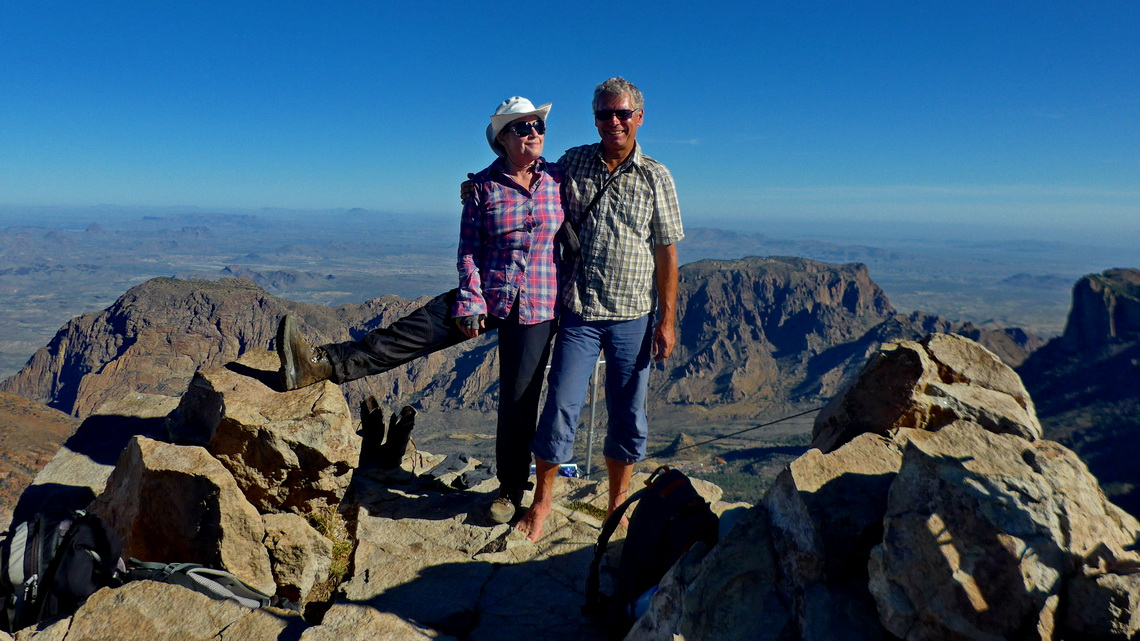 Marion and Alfred on top of 2387 meters high Emory Peak