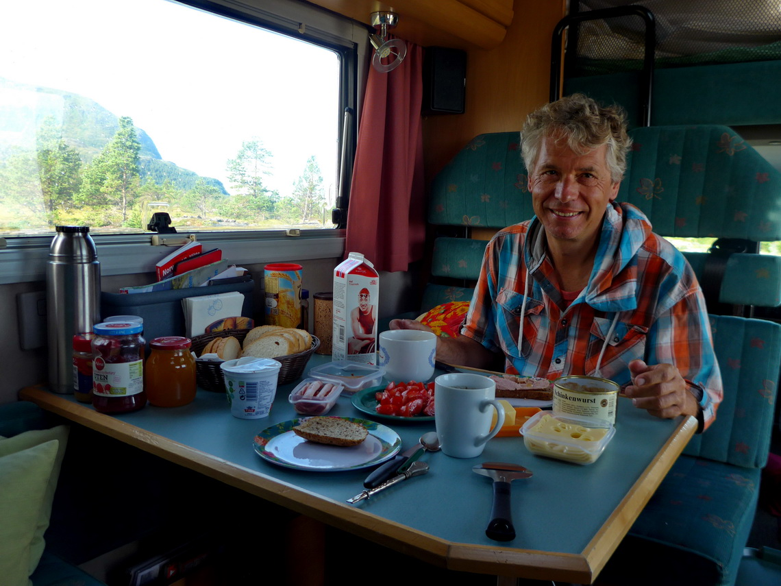 Breakfast in our European motor-home