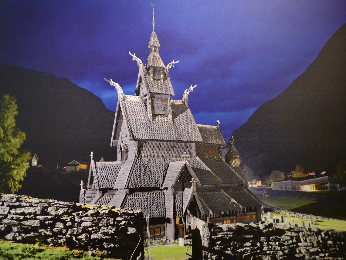 Borgund Stave Church at night (from a poster)