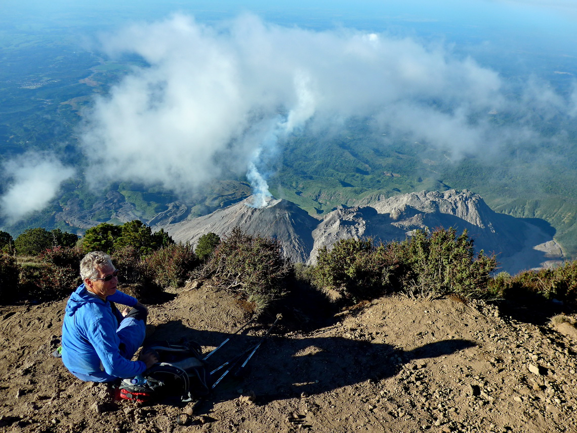Alfred with smoking Volcan Santiaguito