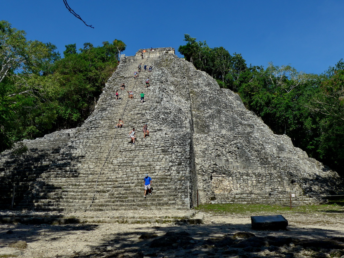 Nohoch Mul, also known as the Great Pyramid of Cobá, which is with 42 meters height the tallest Maya structure in Yucatan