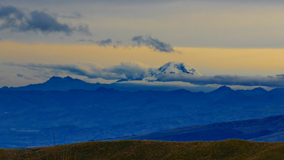 6310 meters high Chimborazo at sunset seen from our base camp. We had climbed Chimborazo in January 2004.