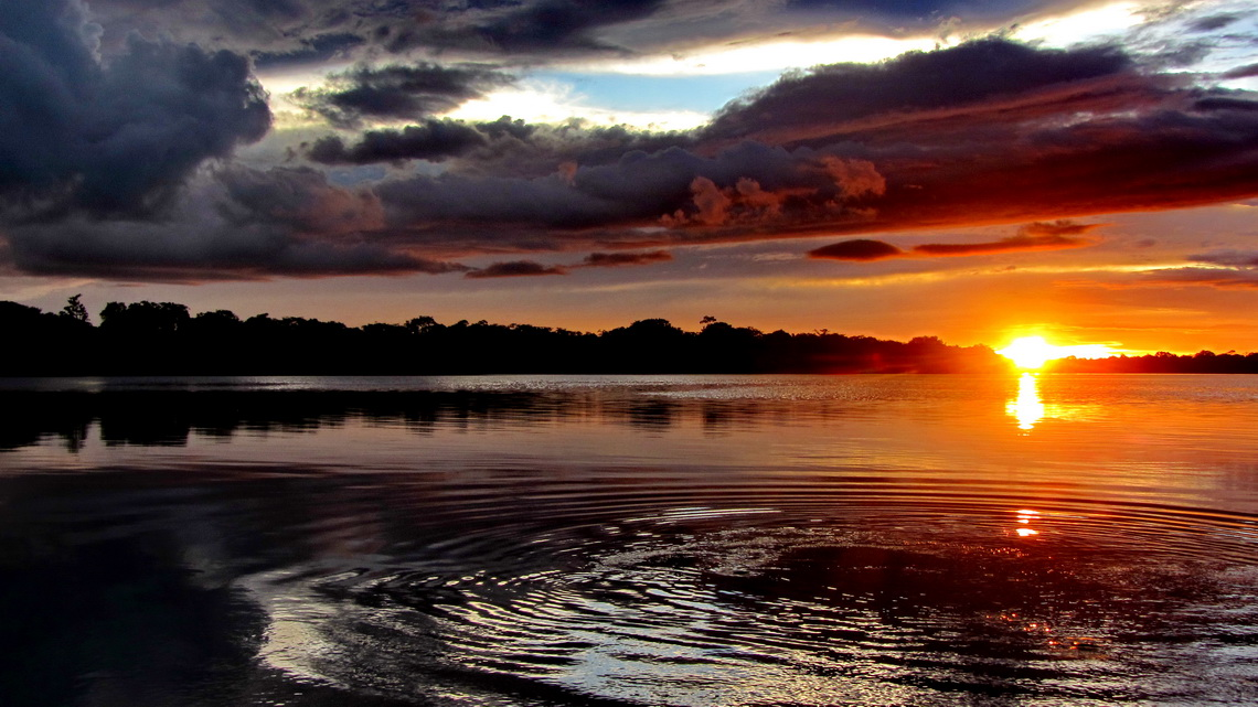 Sunset on the lake on Rio Javari
