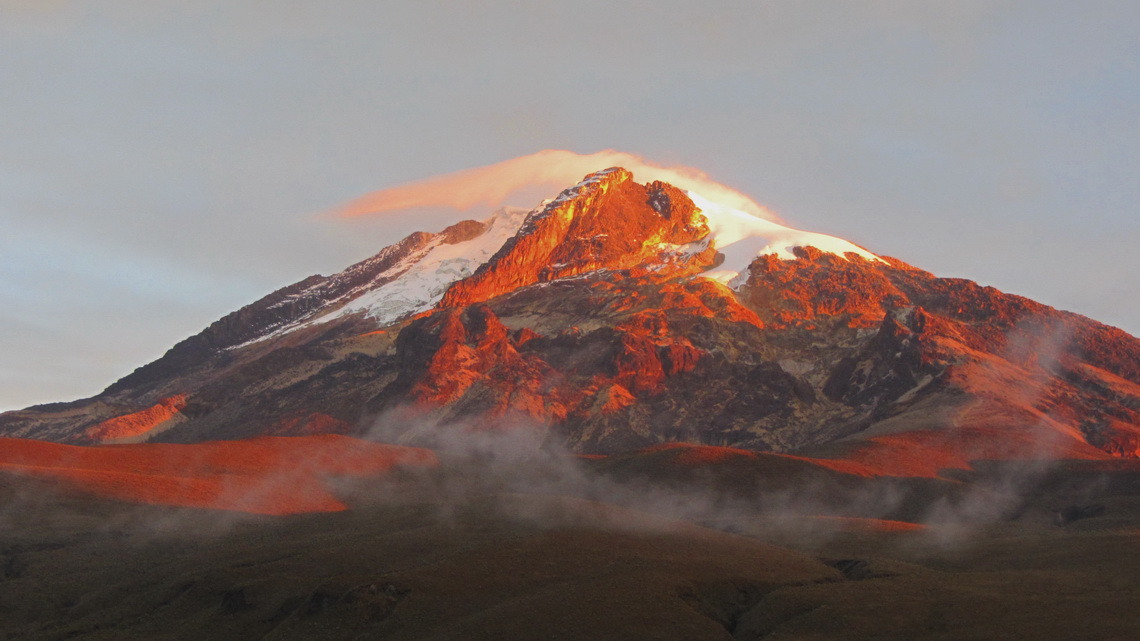 Nevado del Tolima at sunset, seen from our camp Las Cuevas