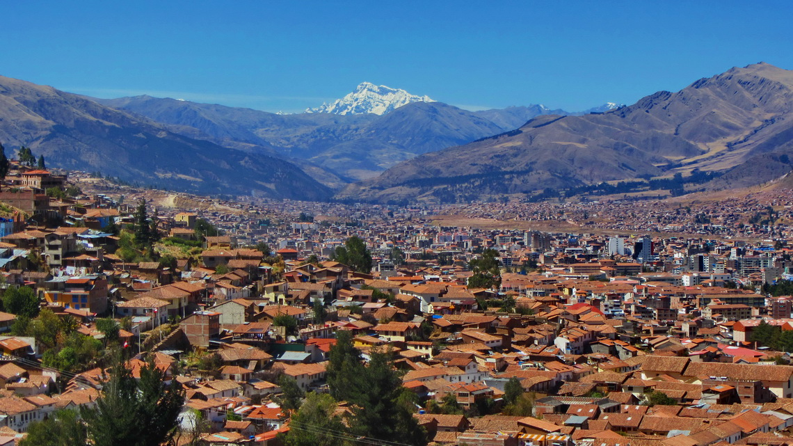 Cusco with the holy mountain Ausangate, which is with 6384 meters sea-level the highest summit in Southeast Peru