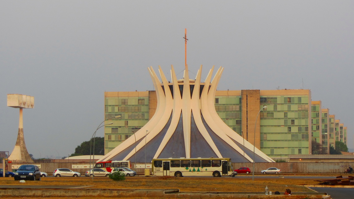 Cathedral of Brasilia with ministries - green buildings in a little bit communistic style?