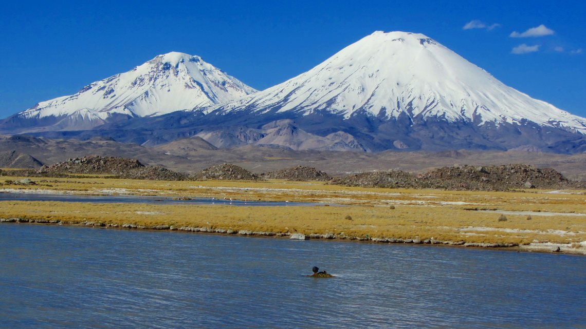 West (Chilean) side of Volcan Pomerape and Volcan Parinacota