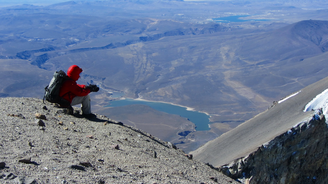 Exhausted on the summit of Volcan El Misti, 5822 meters high