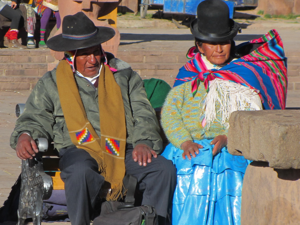 Aymara couple on the main square