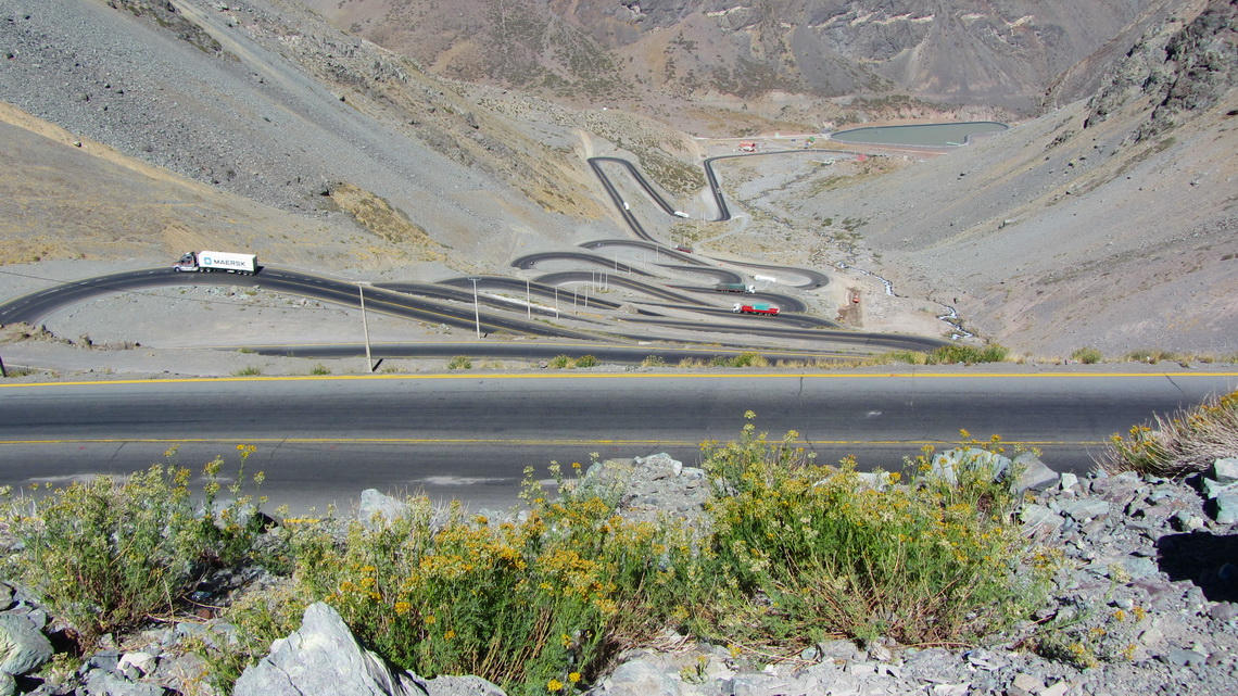 The Chilean side to the tunnel Christo Retendor between Santiago de Chile and Mendoza