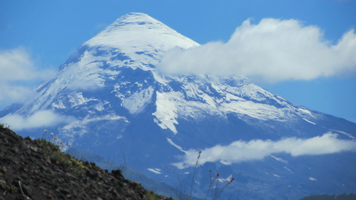 Majestic Volcan Lanin seen from the ascent to Volcan Achen Niyeu