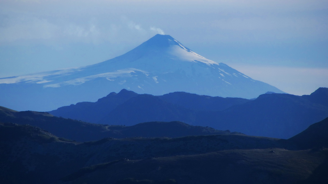 Smoking Volcan Villarrica seen from Cerro Moquehue