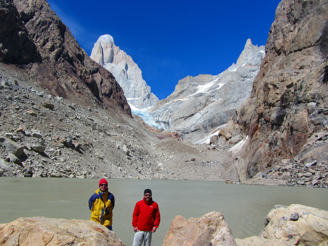 Laguna Pollone with the north face of Cerro Fitz Roy on the left side