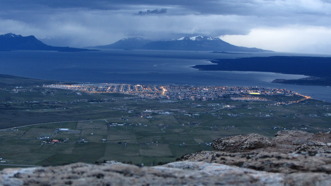 Puerto Natales and Seno Ultima Esperanza seen from the Mirador Sierra Dorotea