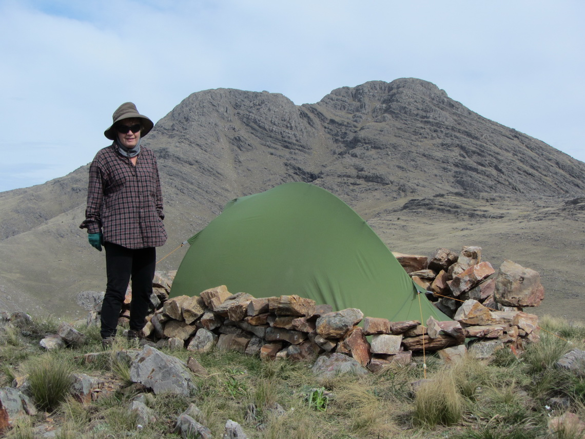 Our still green tent with Cerro Tres Picos