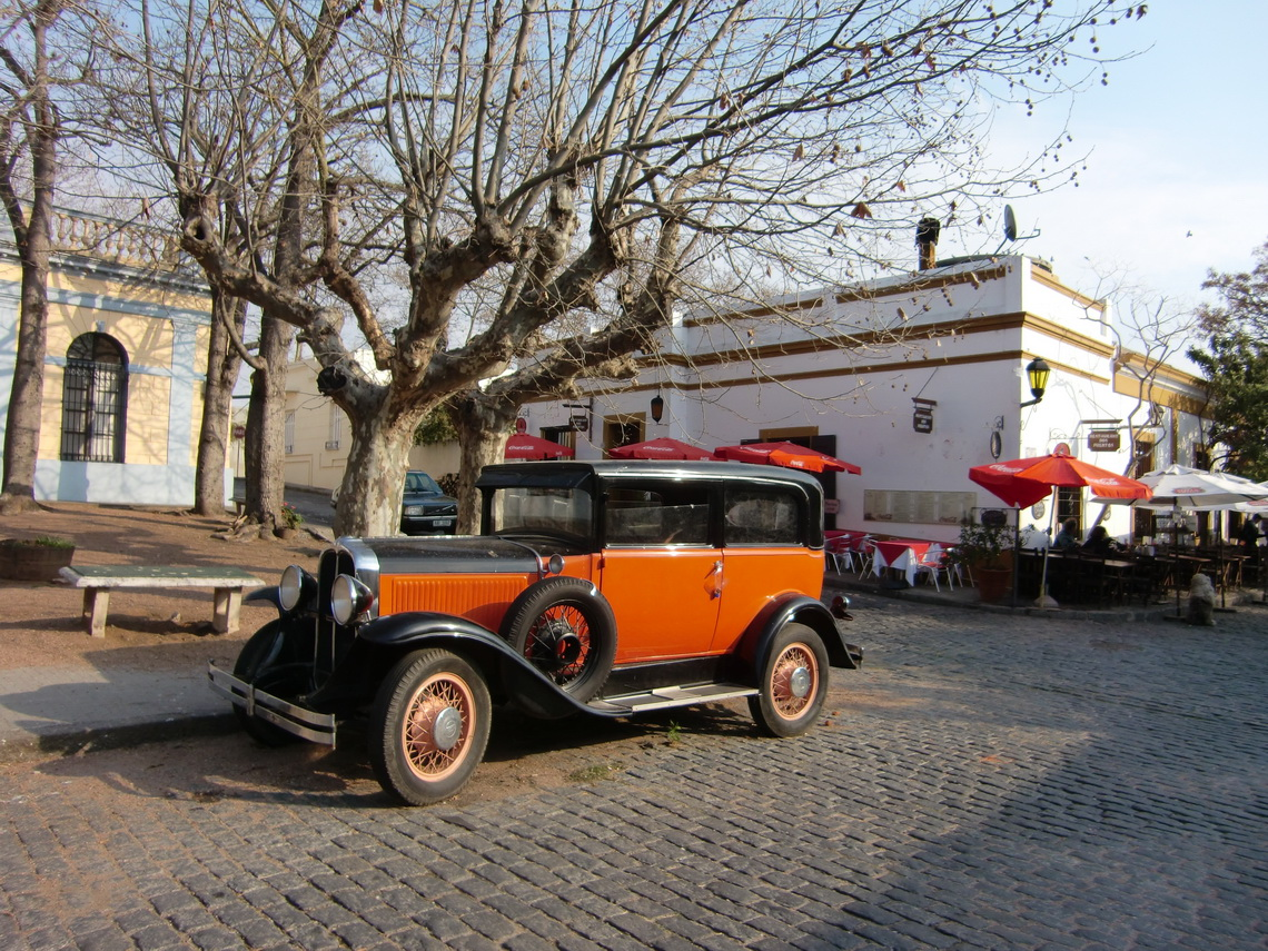 Ancient car on the main square of the old city