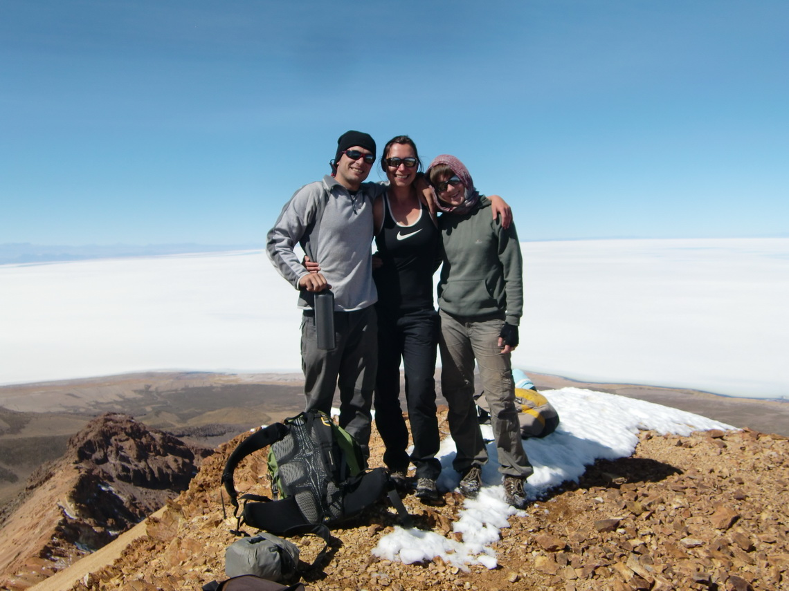 Manuel, Bernadette and Johanna on top of the Volcano Tunupa, 5207 meters high
